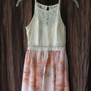 Pink Floral Dress with Creme Half